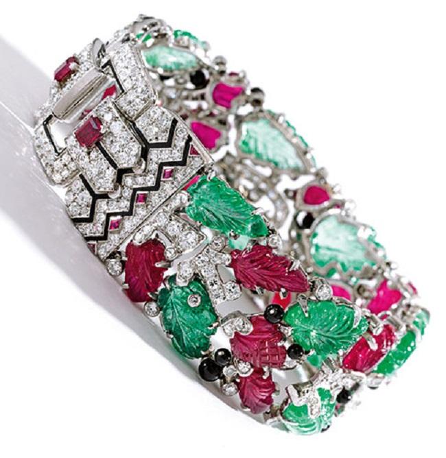 bransoleta Cartier Tutti Frutti udekorowana rubinami, szmaragdami i brylantami